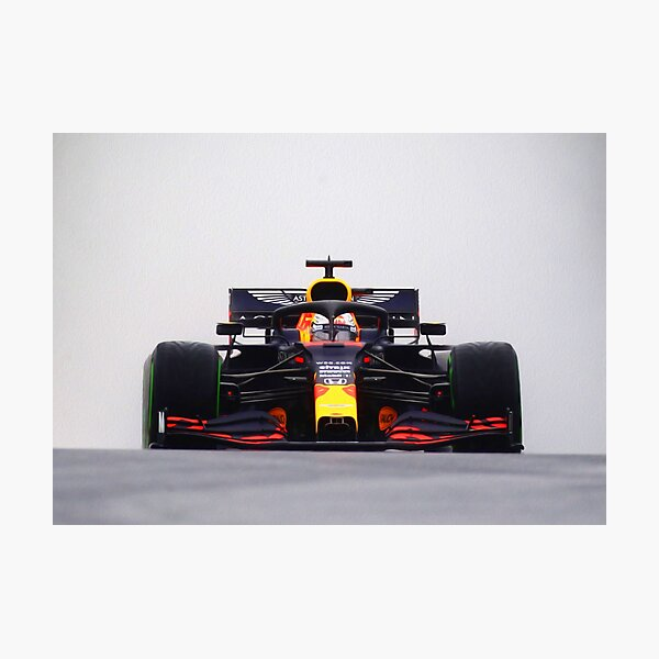 Max Verstappen with spray from the front during the 2020 Hungarian Grand Prix zoomed in Photographic Print