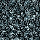 Blue-Gray Pastel Tones Vintage Seamless Paisley Pattern by artonwear
