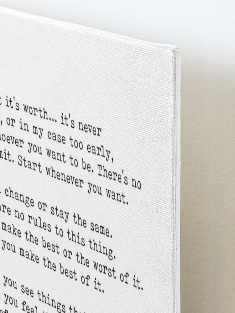 Alternate view of For What It's Worth, F. Scott Fitzgerald Quote Mounted Print