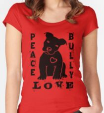 Peace Love Bully - Pit Bull Women's Fitted Scoop T-Shirt