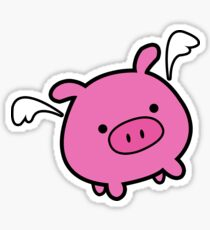 Cute Pink Flying Pig Sticker