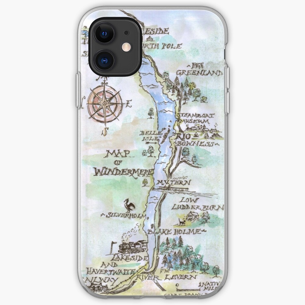 Swallows and Amazons map of Windermere in spring colours -  iPhone Case & Cover