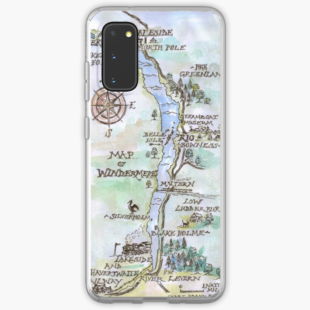 Swallows and Amazons map of Windermere in spring colours -  Case & Skin for Samsung Galaxy