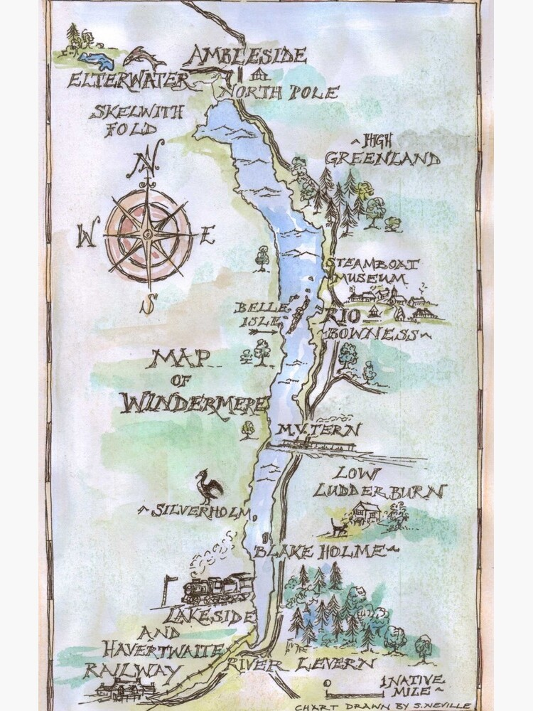 Swallows and Amazons map of Windermere in spring colours -  by SophieNeville