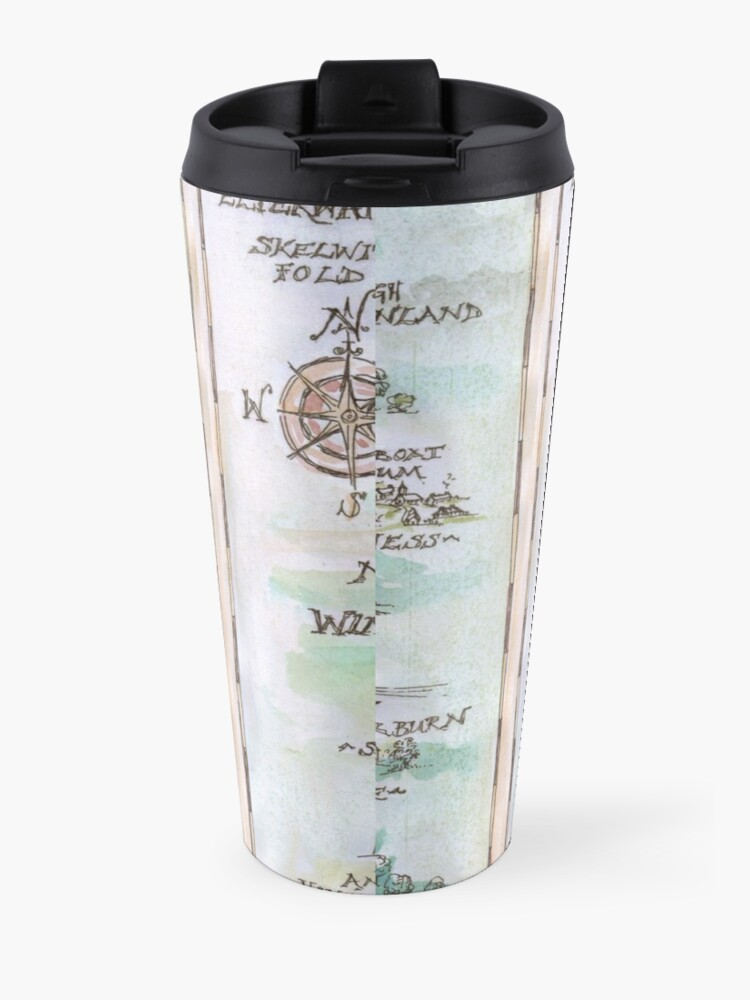 Alternate view of Swallows and Amazons map of Windermere in spring colours -  Travel Mug