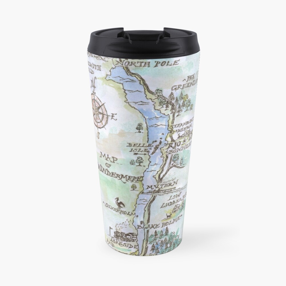 Swallows and Amazons map of Windermere in spring colours -  Travel Mug