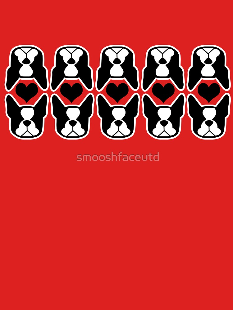I love my Boston Terrier - Bostons and heart pattern by smooshfaceutd