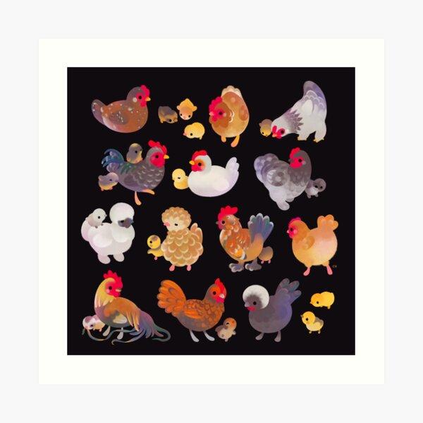 Chicken and Chick - dark Art Print