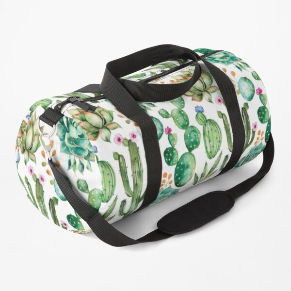 Watercolor Cactus Pattern Duffle Bag