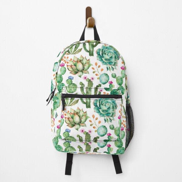 Watercolor Cactus Pattern Backpack