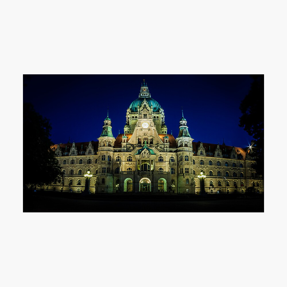 night shot of the town hall of hanover Photographic Print