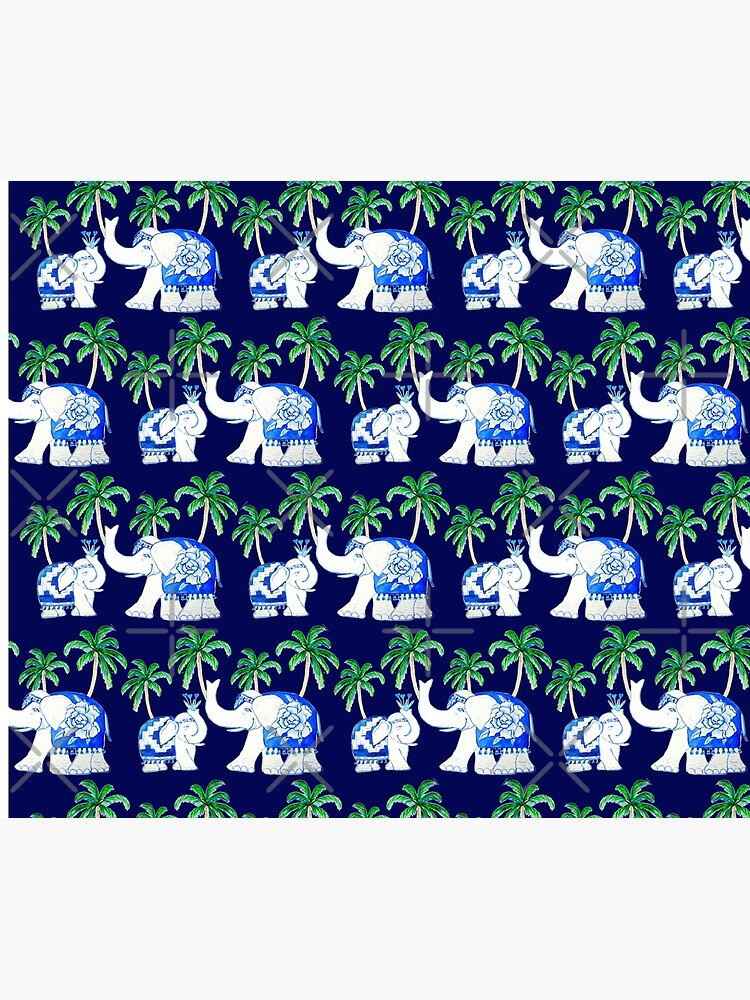 Chinoiserie elephants on classic blue with palm trees by MagentaRose