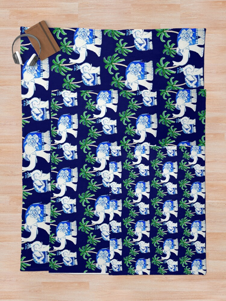 Alternate view of Chinoiserie elephants on classic blue with palm trees Throw Blanket