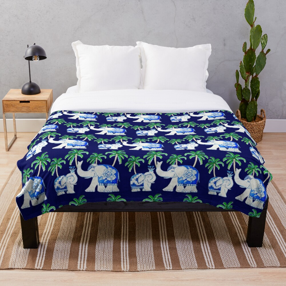 Chinoiserie elephants on classic blue with palm trees Throw Blanket