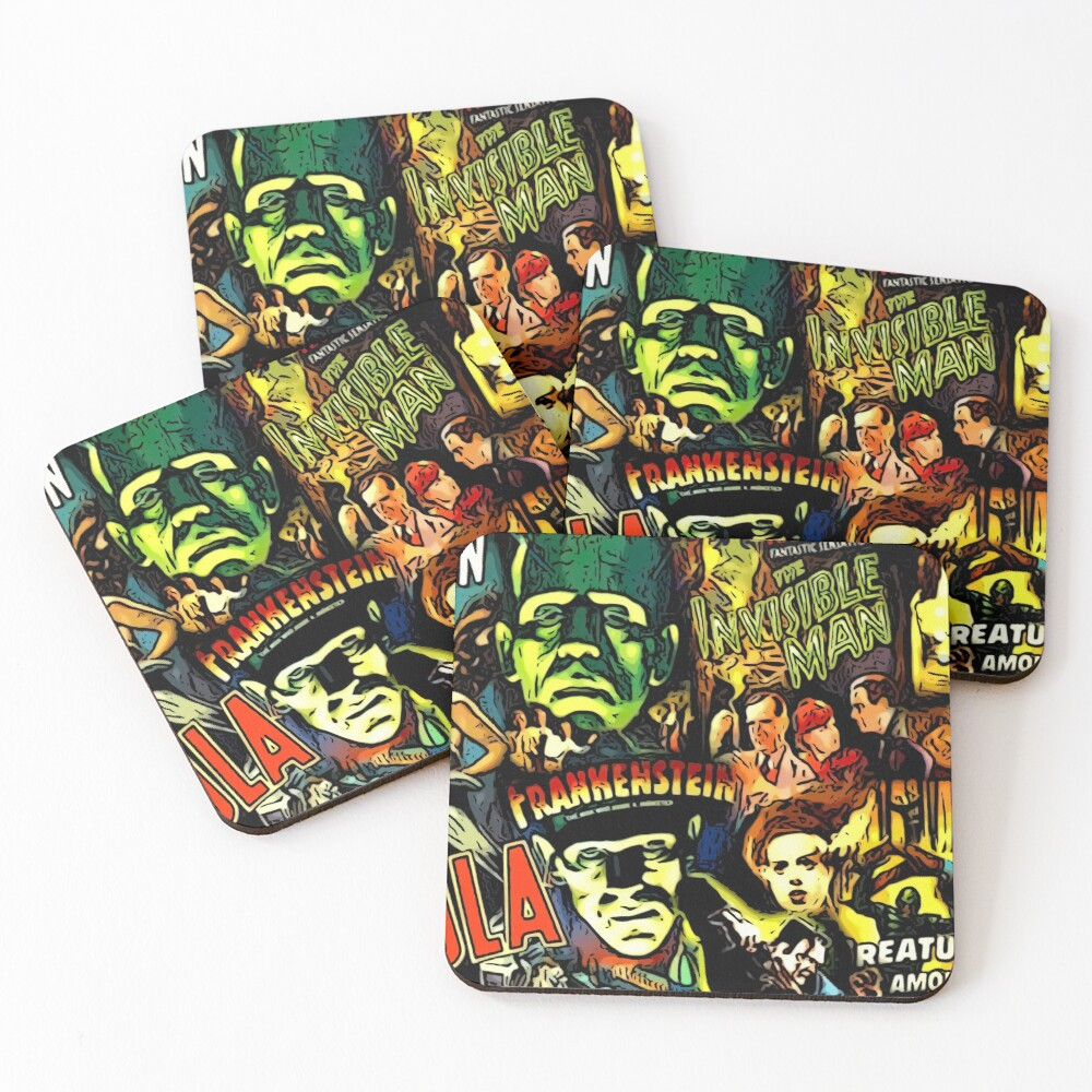 Horror cult universal monsters movies face mask Coasters (Set of 4)