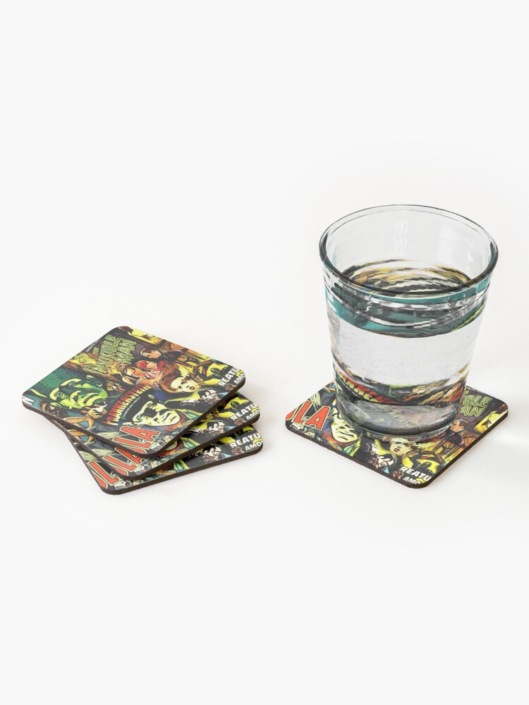 Alternate view of Horror cult universal monsters movies face mask Coasters (Set of 4)