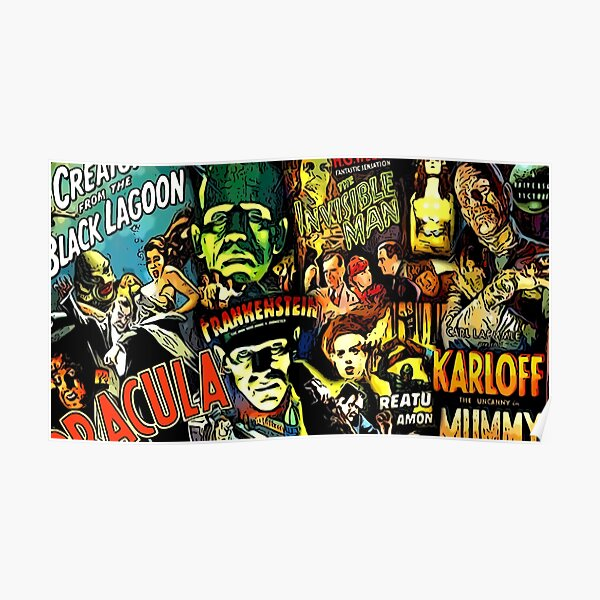 Horror cult universal monsters movies face mask Poster