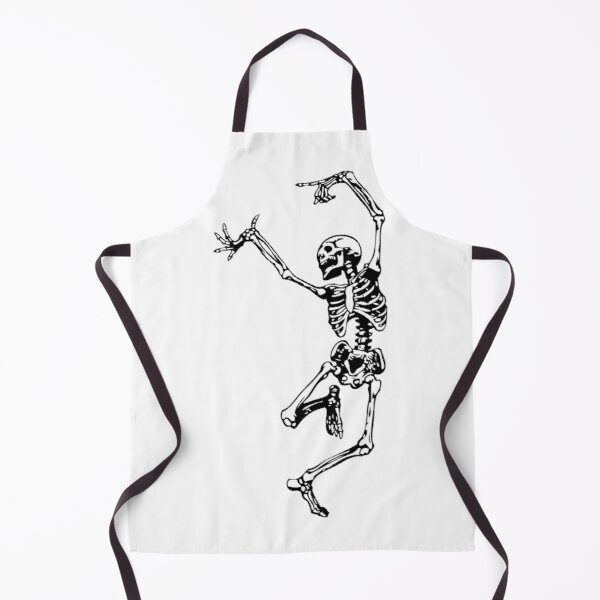Dancing Skeleton | Day of the Dead | Dia de los Muertos | Skulls and Skeletons | Black and White |  Apron