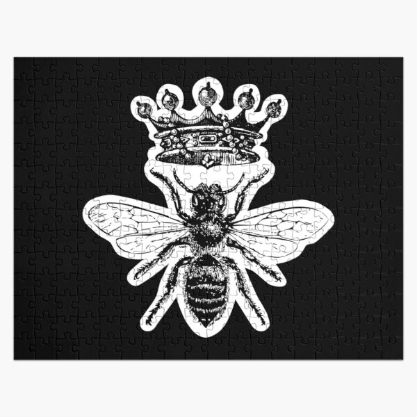 Queen Bee | Vintage Honey Bees | Black and White |  Jigsaw Puzzle