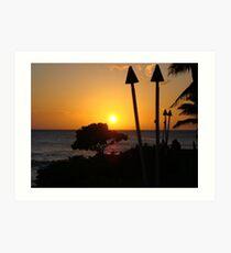 Tiki Torches At Sunset - Oahu Art Print