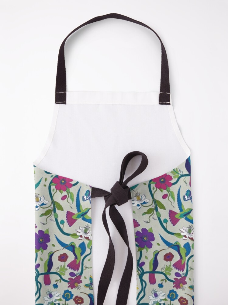 Alternate view of Hummingbirds & Passion flowers - on grey - pretty floral bird pattern by Cecca Designs Apron