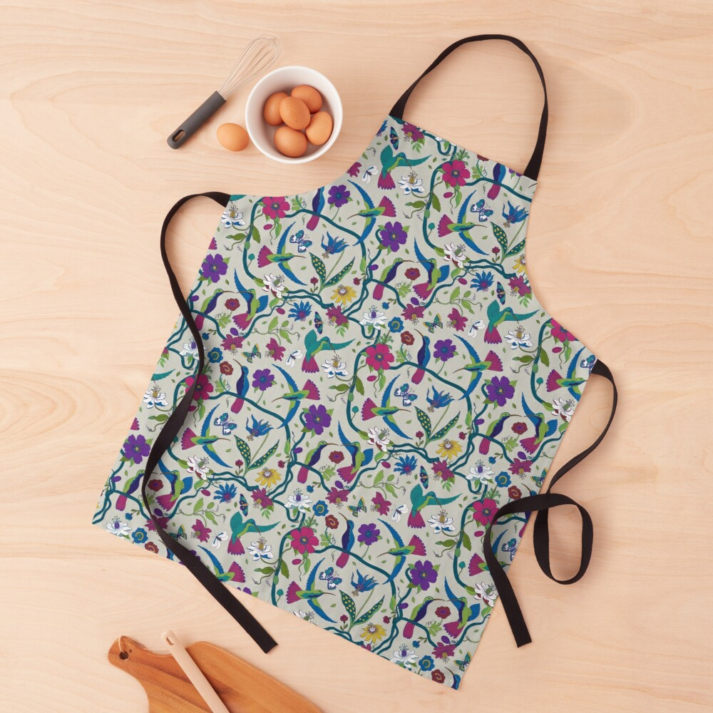 Hummingbirds & Passion flowers - on grey - pretty floral bird pattern by Cecca Designs Apron