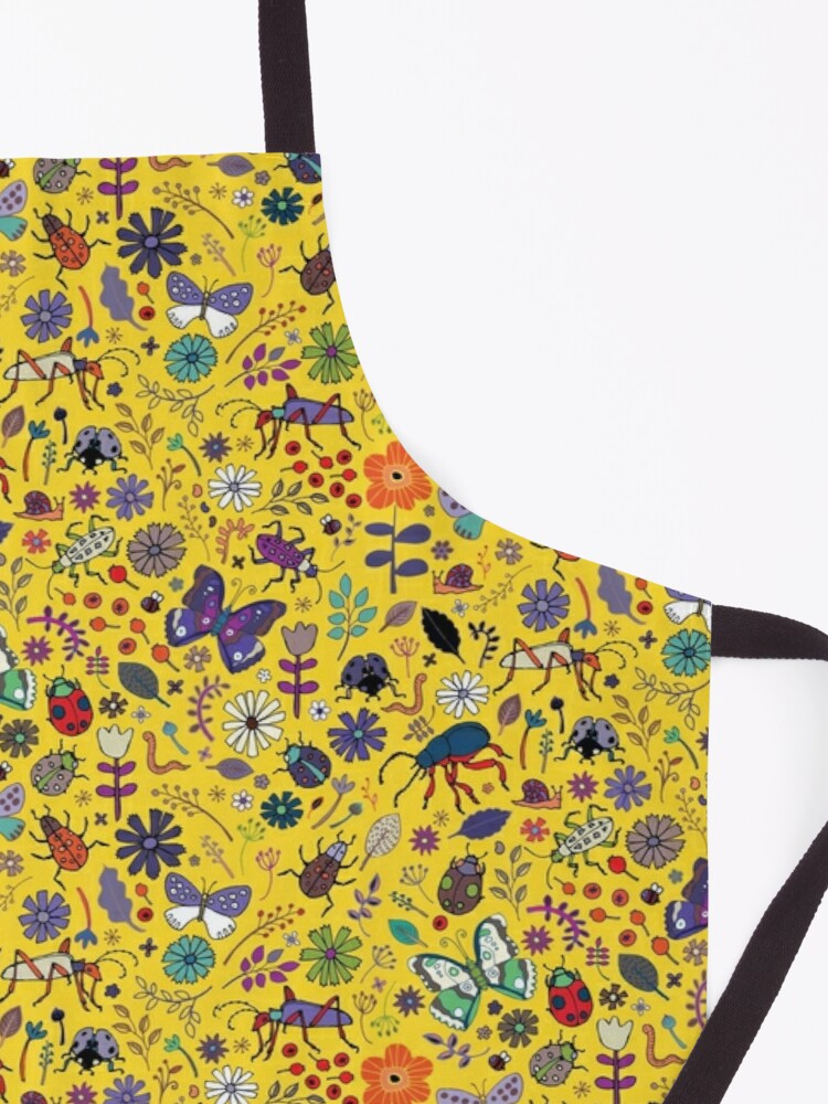 Alternate view of Butterflies, beetles and blooms - Yellow - pretty floral pattern by Cecca Designs  Apron