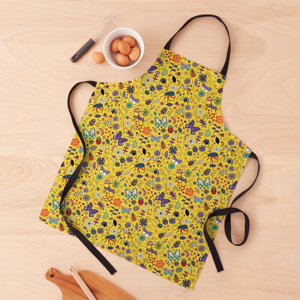 Butterflies, beetles and blooms - Yellow - pretty floral pattern by Cecca Designs  Apron