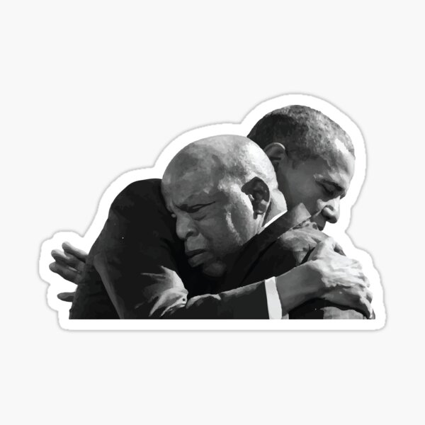 PRESIDENT BARACK OBAMA HUGS REP. JOHN LEWIS ON BLOODY SUNDAY ANNIVERSARY Sticker