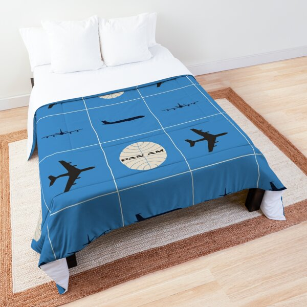 Pan Am Planes and Globe Square Pattern Comforter