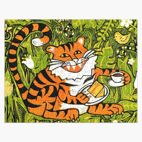 Tiger tea time - Original Linocut by Francesca Whetnall Jigsaw Puzzle