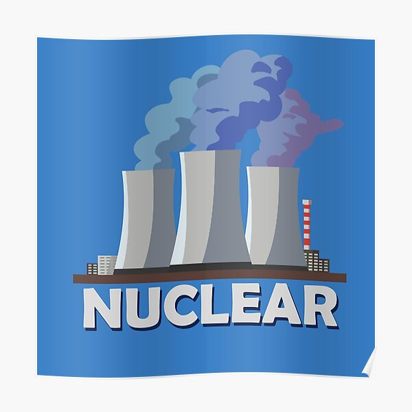 Nuclear Power Plant Cooling Tower Poster Print Power Technician Engineer Gift