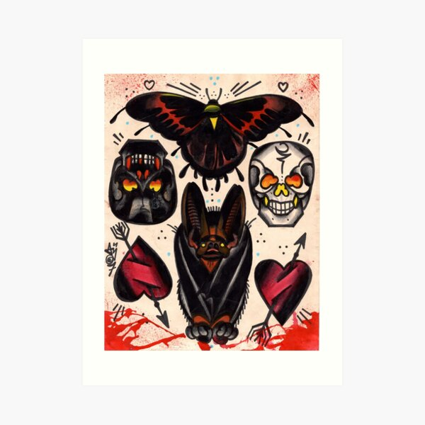bat, skulls, hearts. old school tattoo flash Art Print