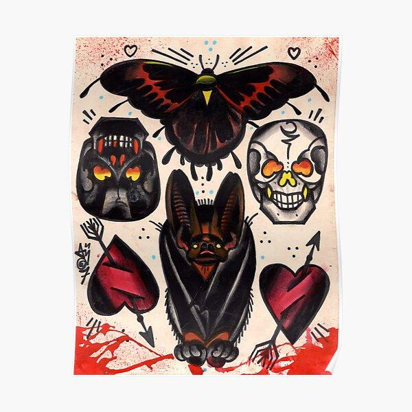 chauve-souris, crânes, coeurs. flash de tatouage old school Poster
