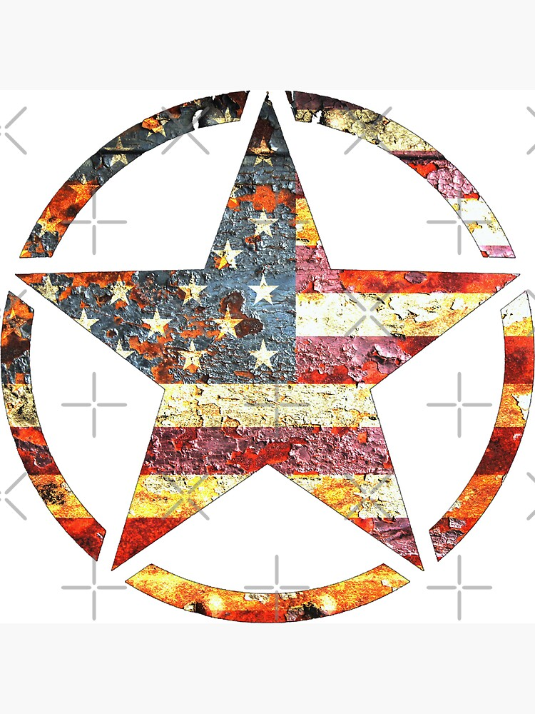 Circled Army Star on Distressed American Flag by MolonLabeArt