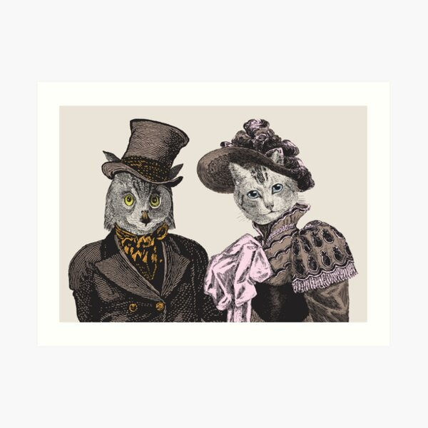 The Owl and the Pussycat | Anthropomorphic | Vintage Owls | Vintage Cats |  Art Print