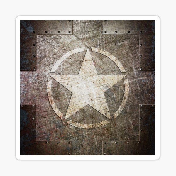Army Star on Distressed Riveted Metal Sheet Sticker