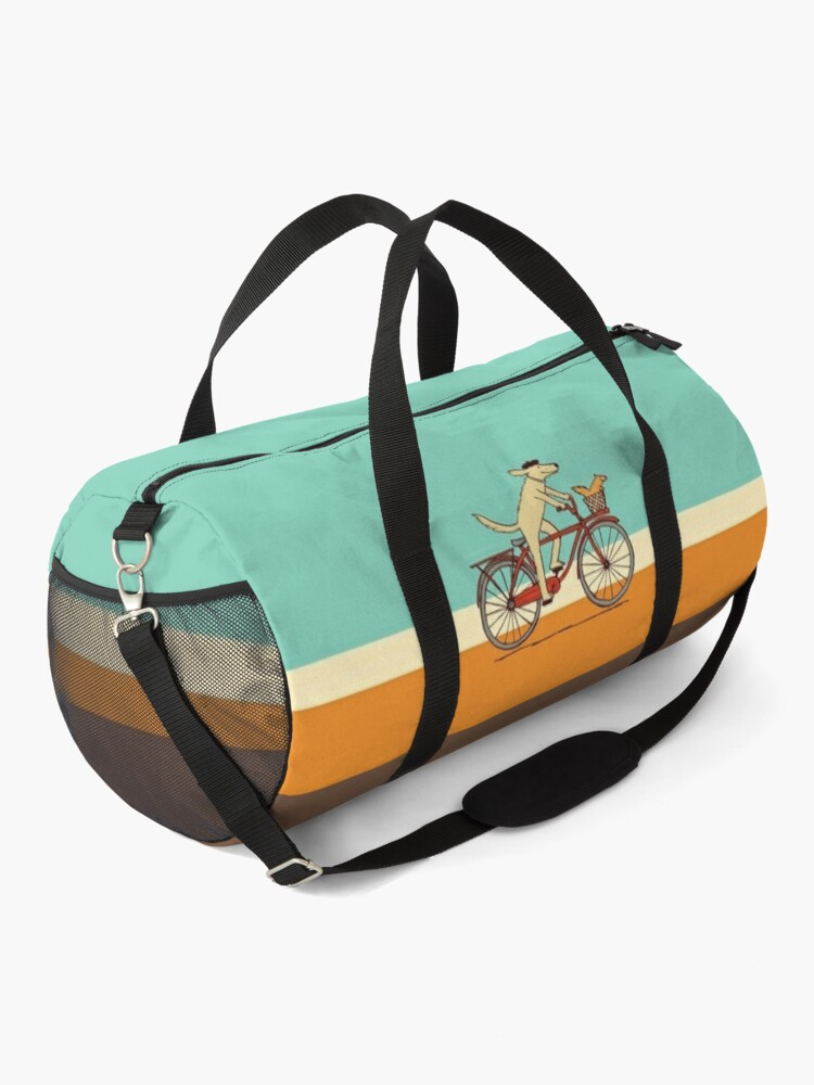 Alternate view of Dog and Squirrel are Friends | Whimsical Animal Art | Dog Riding a Bicycle Duffle Bag