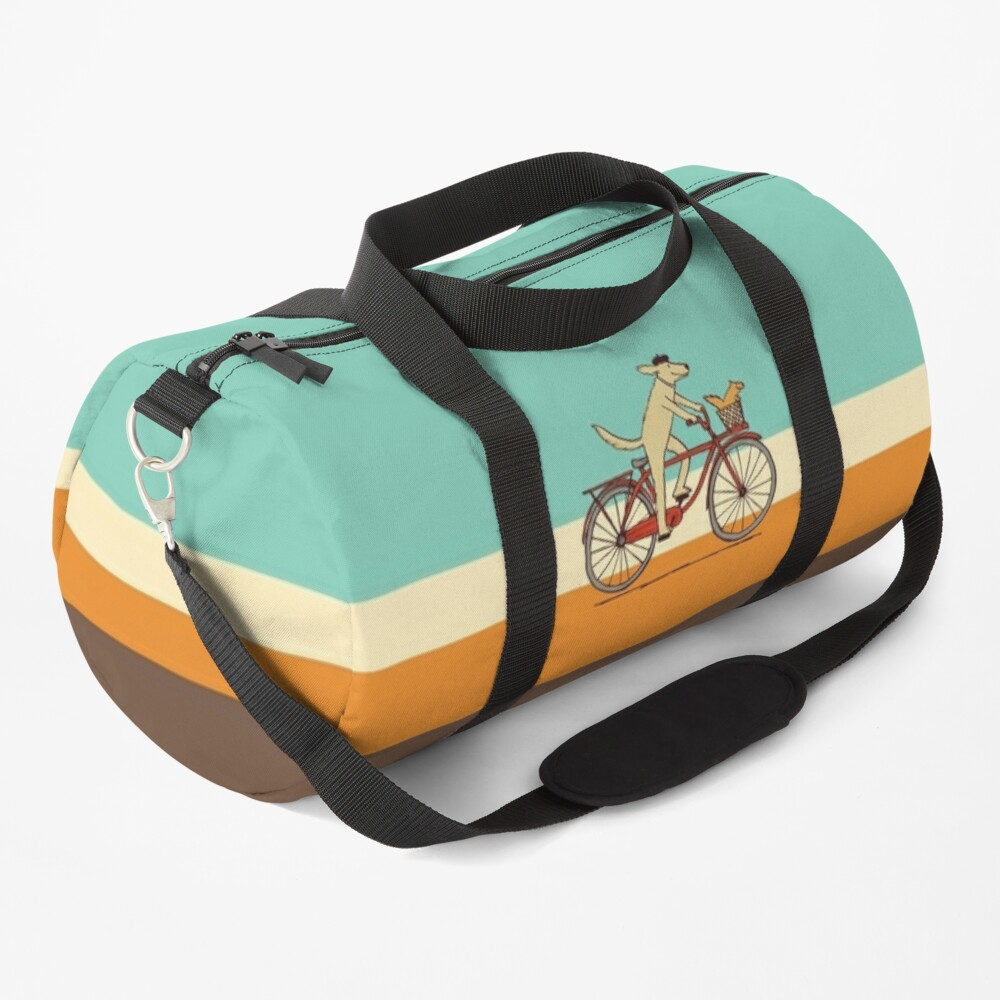 Dog and Squirrel are Friends | Whimsical Animal Art | Dog Riding a Bicycle Duffle Bag