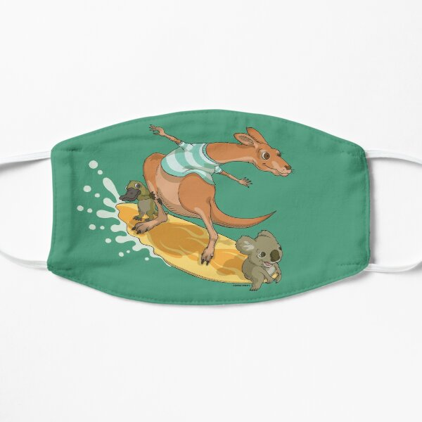 Surfing kangaroo and friends Flat Mask