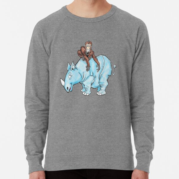 chimp on rhino Lightweight Sweatshirt