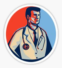 Doctor Stethoscope Standing Retro Sticker