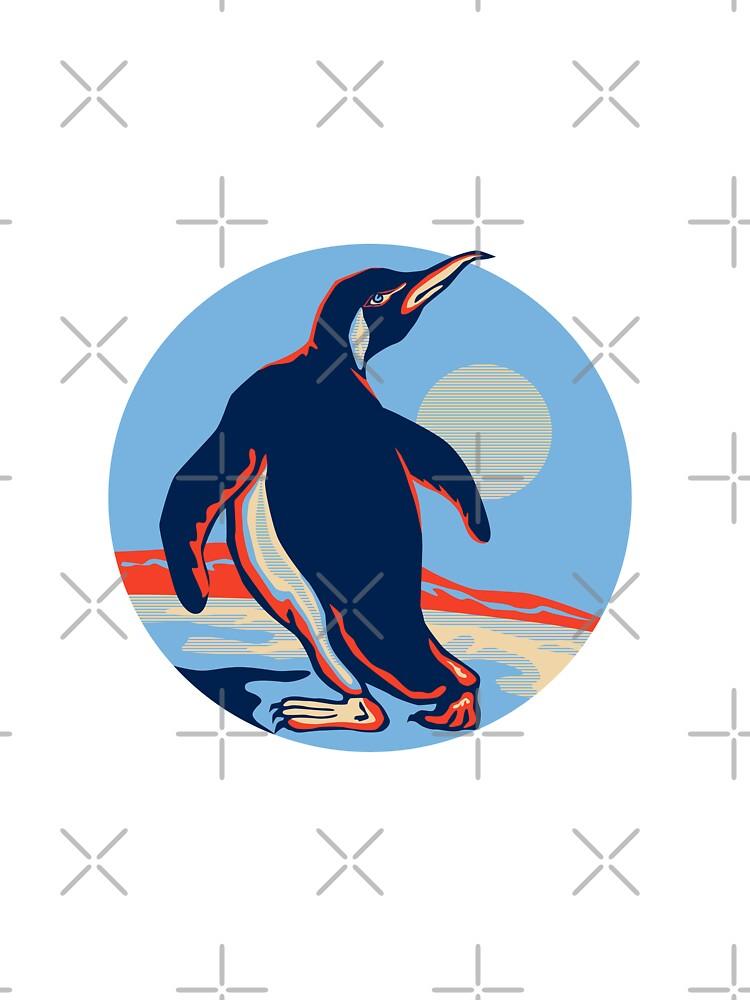 Penguin Walking Moon Retro by patrimonio