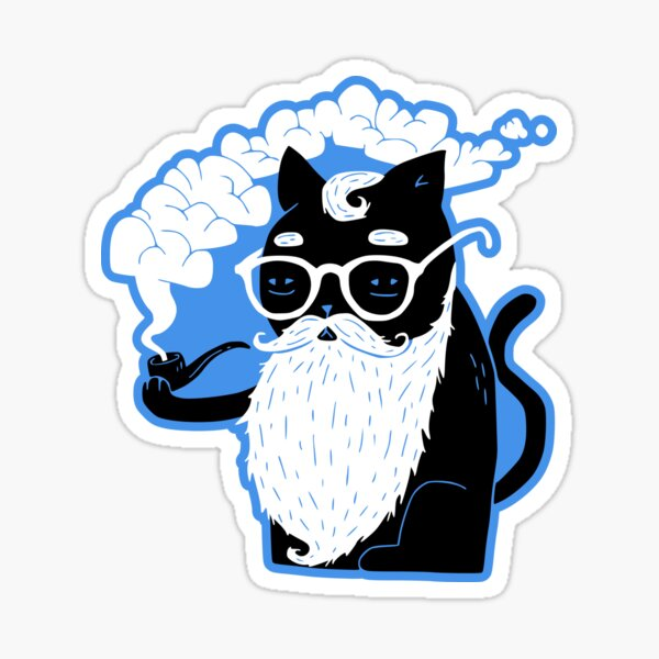 Whiskers And Pipe Sticker