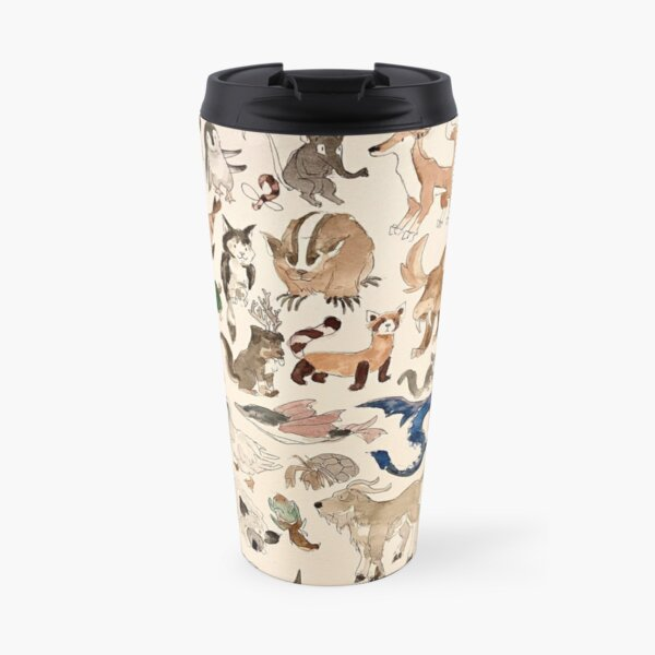 Avatar Animals print in watercolor, Avatar the Last Airbender show, Appa, Momo, turtle duck Travel Mug
