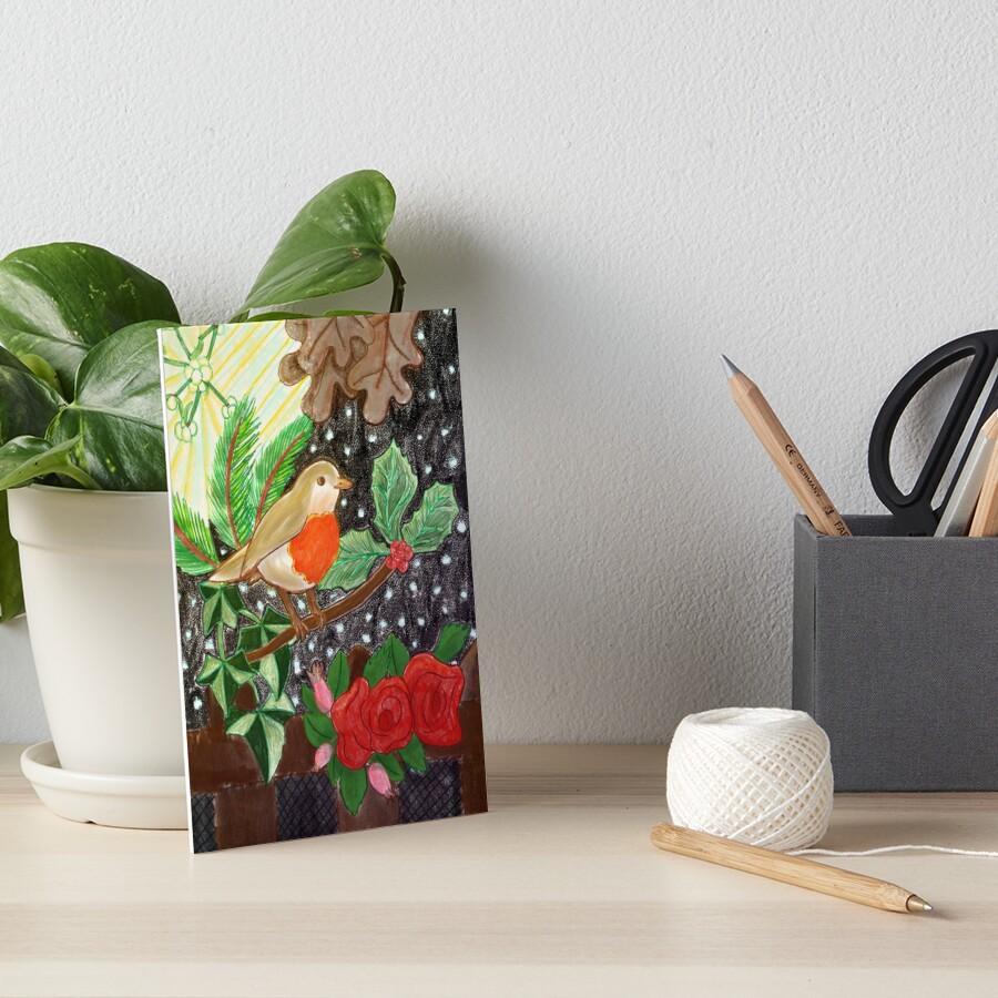 Robin Redbreast tunes his Note Art Board Print