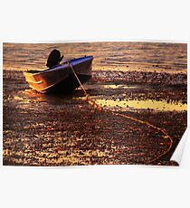 Beached boat at sunset Poster