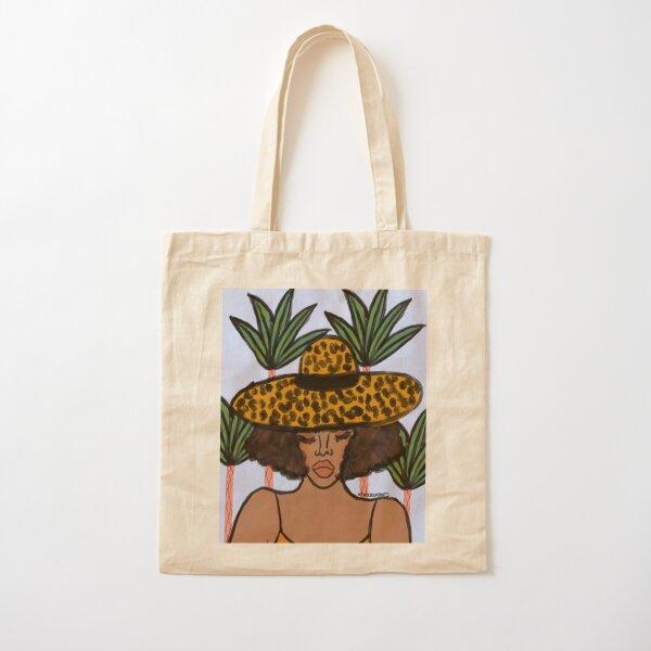 Leopard Hat Cotton Tote Bag
