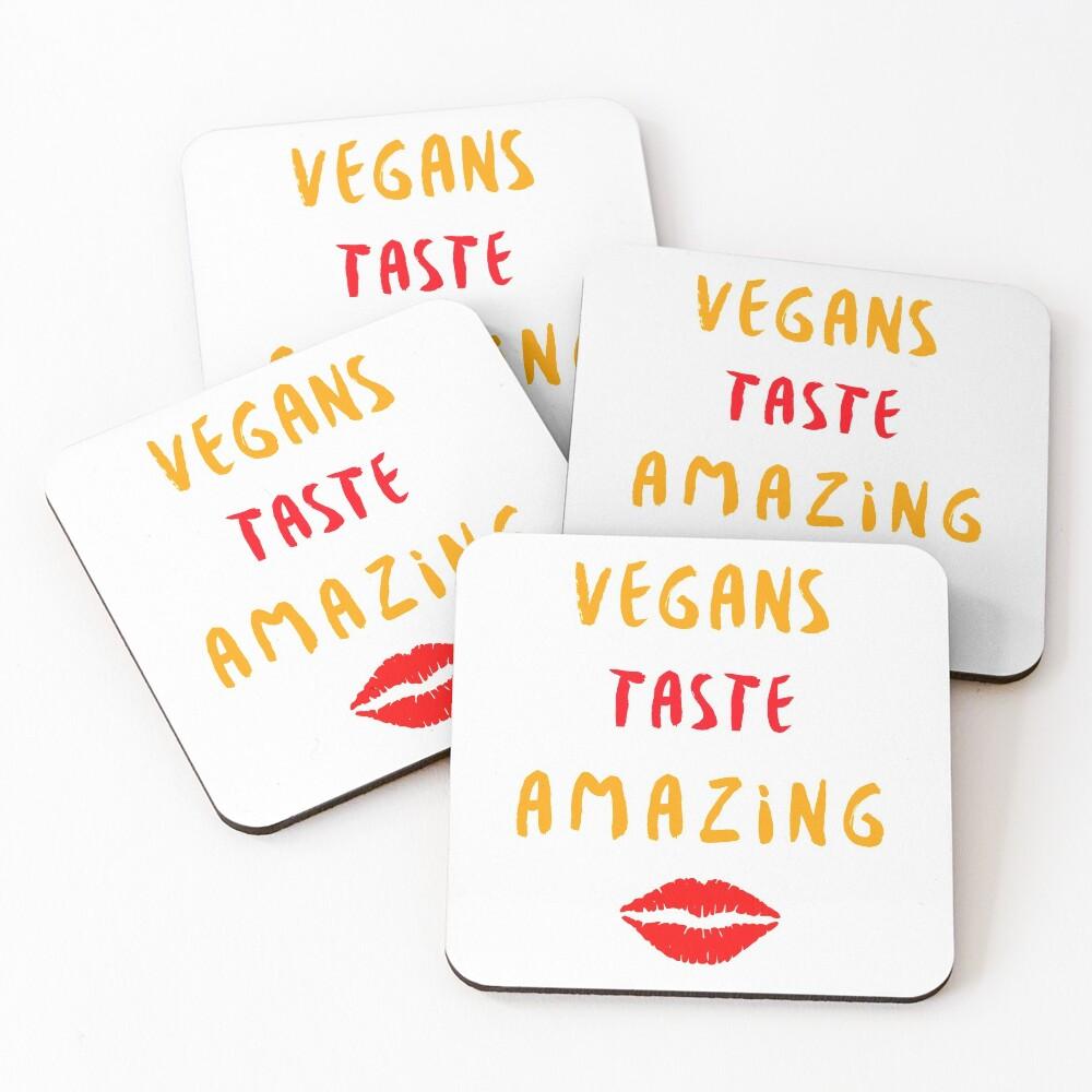 Vegans Taste Amazing with Lips Coasters (Set of 4)