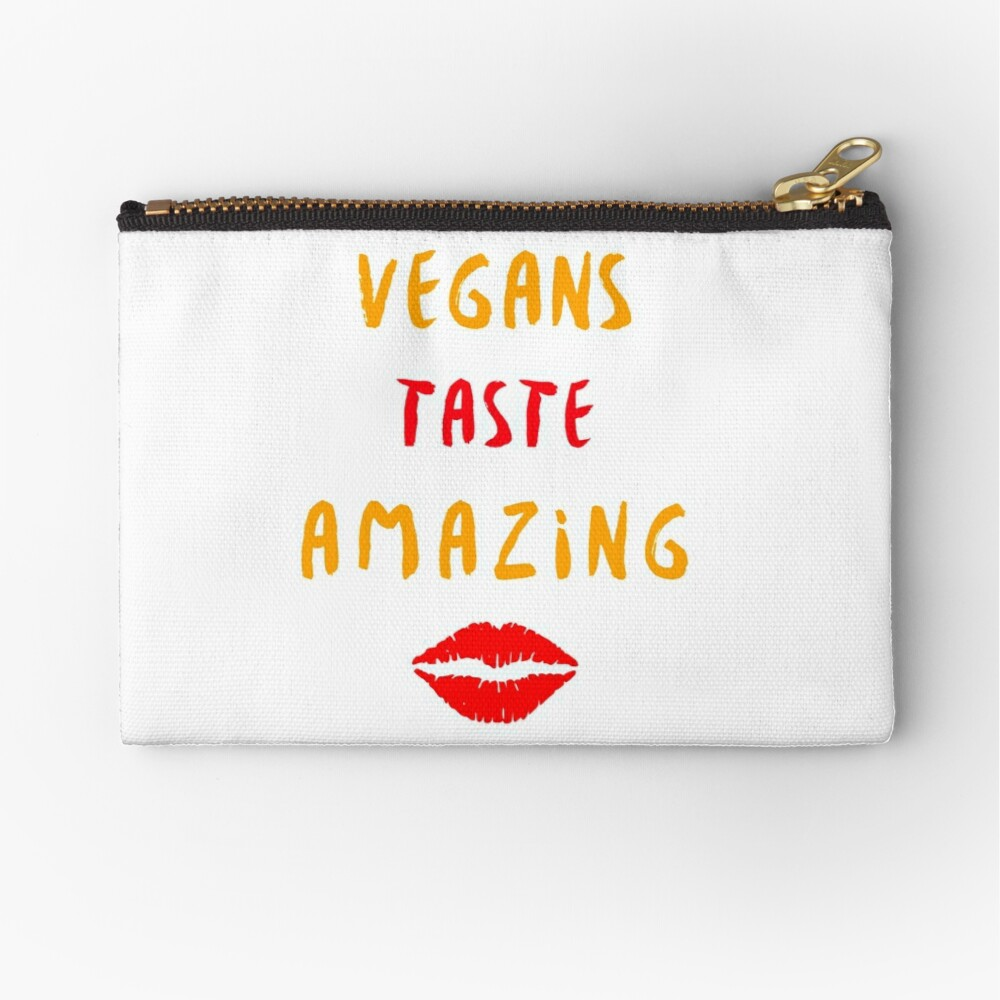 Vegans Taste Amazing with Lips Zipper Pouch